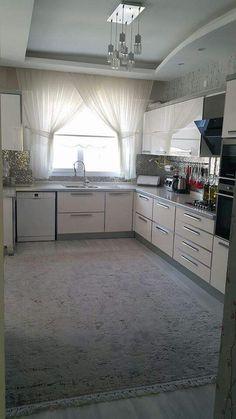Mutfak Kitchen Room Design, Big Kitchen, Kitchen Cabinet Colors, Kitchen Layout, Interior Design Living Room, Kitchen Decor, Kitchen Cabinets, Corner Cupboard, Small Space Interior Design