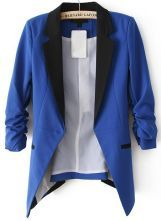Blue+Contrast+Notch+Lapel+Long+Sleeve+Blazer+US$33.61