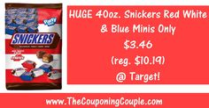 HOT Snickers Red White & Blue Minis Deal @ Target ~ ONLY $3.47 for 2.5 POUNDS of Snickers Minis (reg. price $10.19)! Click the Picture below to get the FULL BREAKDOWN including Direct Links to the Coupons ► http://www.thecouponingcouple.com/snickers-red-white-blue-minis-deal/  Use the SHARE button below the Picture to SHARE this Deal with your Family and Friends!  #Coupons #Couponing #CouponCommunity  Visit us at http://www.thecouponingcouple.com for more great posts