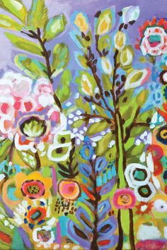 Karen Fields Solid-Faced Canvas Print Wall Art Print entitled Garden Of Whimsy III Flower Canvas, Flower Wall, Abstract Flowers, Acrylic Flowers, Art Flowers, Painting Inspiration, Painting & Drawing, Fine Art America, Canvas Art
