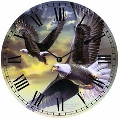 "Flying Eagles Wall Clock. A highly decorative wildlife piece to add to your home/collection. Features two eagles soaring through the sky. 13 1/2"" diameter Full"