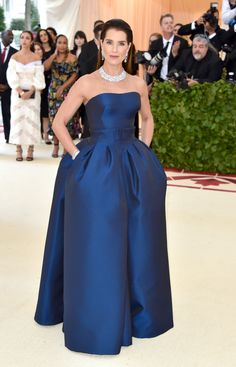 See What the Stars Wore to the Met Gala 2018 Red Carpet Celebrity Dresses, Celebrity Style, Strapless Dress Formal, Formal Dresses, Wedding Dresses, Gala Gowns, Marine Uniform, Brooke Shields, Weekend Outfit