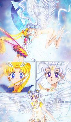 """Sailor Moon: StarS"" - Eternal Sailor Moon and Sailor Cosmos. Arte Sailor Moon, Sailor Moon Manga, Sailor Uranus, Manga Anime, Anime Art, Sailor Moon Crystal, Disney Marvel, Princesa Serenity, Sailer Moon"
