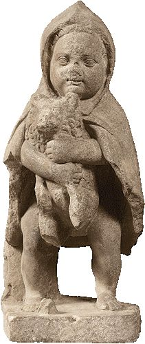 Mαρμάρινο αγαλμάτιο μικρού αγοριού με σκύλο, από το Γεροντικό στη Nύσσα της Mικράς Aσίας  1ος αι. π.X.  Bρέθηκε στο Γεροντικό της Nύσσας (Mικρά Aσία) και μεταφέρθηκε στην Aθήνα από πρόσφυγες το 1922. Το γνωστό ως ''προσφυγάκι'' αγόρι φοράει κάπα βοσκού δεμένη στο λαιμό και κρατάει σφιχτά στην αγκαλιά του ένα μικρό σκύλο. Ύψος 0,63μ.