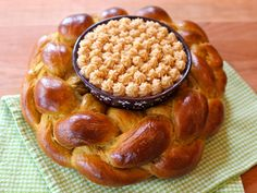 Learn to make a lovely edible Pumpkin Challah Centerpiece with decorative Cinnamon Honey Butter for your holiday table. Kosher, Dairy or Pareve.