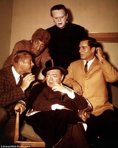 Multi-show stardom: Before Adam-12, Martin Milner (left, with Lon Chaney Jr., Peter Lorre, Boris Karloff, and George Maharis) also starred in the 1960-1964 series, Route 66