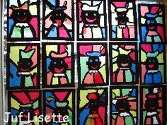 Piet voor het raam Benodigdheden: zwart papier, potlood, schaar, vloeipapier & lijm. Teken een rand van minimaal een centimeter langs de zijkanten van het zwarte papier. Teken Piet. Zorg ook hier voor dikke lijnen en verbind Piet mbv lijnen met de zijkant van het papier. Prik of knip de vakjes uit en plak hier vloeipapier achter. Lions, December, Arts And Crafts, Diy, Stained Glass, Kunst, Lion, Bricolage, Do It Yourself