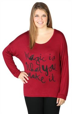 Deb Shops plus size long sleeve oversized tee with magic screen and high low hem $17.17