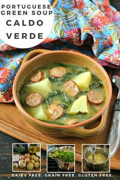 A humble soup filled with creamy gold potatoes, earthy collard greens and spicy smoked chorizo. Easy to make and very filling! Paleo Recipes, Real Food Recipes, Crockpot Recipes, Soup Recipes, Cooking Recipes, Barbecue Recipes, Oven Recipes, Mexican Recipes, Easy Cooking
