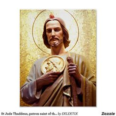 Shop St Jude Thaddeus, patron saint of the impossible. Poster created by EKLEKTIX. Personalize it with photos & text or purchase as is! Patron Saints, Catholic Saints, St Jude Prayer, St Judas, Angel Garden Statues, Prayers Of Gratitude, Holly Pictures, Chicano Drawings, Statue Tattoo