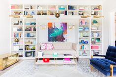 Built-In Bookshelves. Cococozy Favorite Home Office and Living Room design tips. Bookshelves in unexpected places. Living Room Designs, Living Spaces, Living Area, Sweet Home, Bookshelves Built In, Built Ins, Book Shelves, Bookshelf Styling, Bookcases