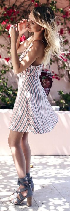 Leonie Sophie + could not be more summery + stripes dress + uniqueness + grey heels + gorgeous.   Dress: Privacy Please, Shoes: Raye the label