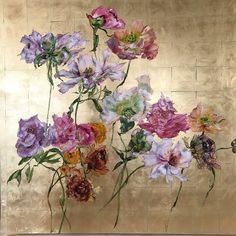 by Claire Basler Art Floral, Mary Gibbs, Art Feuille D'or, Gold Leaf Art, Pictures To Paint, Botanical Art, Art Oil, Painting Inspiration, Flower Art
