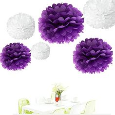 Since ® 12Pcs of 8' 10' 14' 3 Colors Mixed White and Purple Tissue Paper Flowers,Tissue Paper Pom Poms,Wedding Party Decor,Pom Pom Flowers,Tissue Paper Flowers Kit,Pom Poms Craft,Wedding Pom Poms * Want additional info? Click on the image.