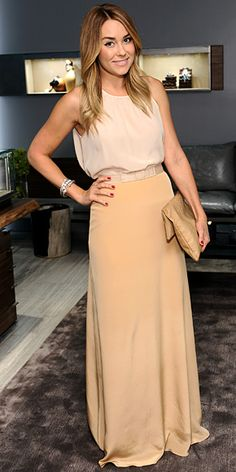#LaurenConrad helped open #DavidYurman's Beverly Hills boutique in a blush ensemble and a stack of the jeweler's bracelets.