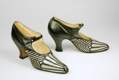 Art Deco shoe, English, c. 1925--The stark contrast between light and dark was exploited by many Art Deco designers, artists, and architects in the 1920s. This pair of shoes exemplifies this aesthetic. (2011 Bata Shoe Museum, Toronto, Canada)