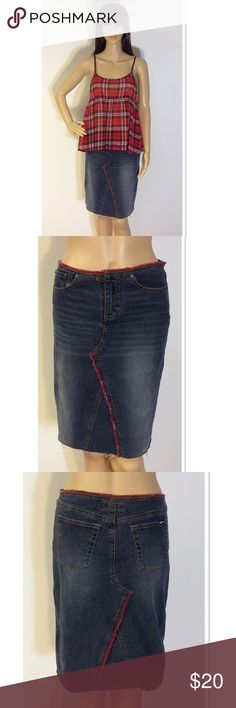 """UNIONBAY STRETCH DENIM SKIRT Cute denim skirt with red thread trim. Button and zip front with front and back pocket. Distressed indigo wash. Measurements lying flat Waist 14.5"""" hips 16.5"""" length 20"""" UNIONBAY Skirts Midi"""