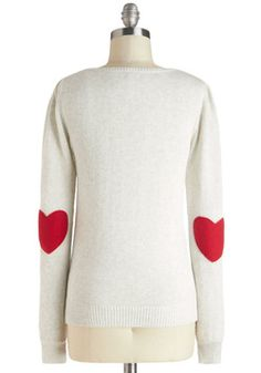 We're Young at Heart Sweater, #ModCloth this would look cute with a red scarf!