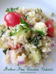For gluten-free guests at parties! Gluten-Free Quinoa Tabouli with a Texas Twist #recipe #foodallergy