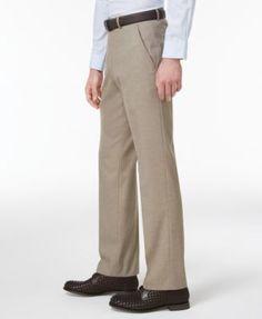 Alfani Men's Slim-Fit Traveler Light Brown Neat Pants, Only at Macy's - Brown 33x32