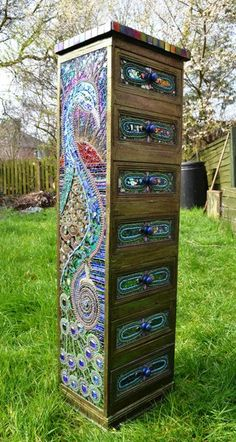 Mosaic art Mosaic Peacock Chest. Wow. I'd like to have this in my stitching craft room... the fantasy one that has no bounds. :-)