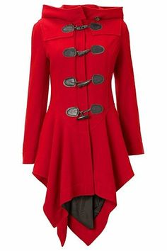 An update on the classic toggle coat. Great asymmetrical A-line shape, great color, and a hood to boot!