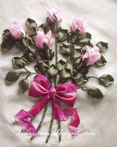 Lujo rosas tridimensionales de cintas de raso.  Clase detallada maestro.