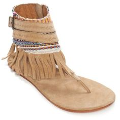 Cue Hina Belted Fringe Sandal - Women's ($79) ❤ liked on Polyvore featuring shoes, sandals, cue, fringe sandals and fringe shoes