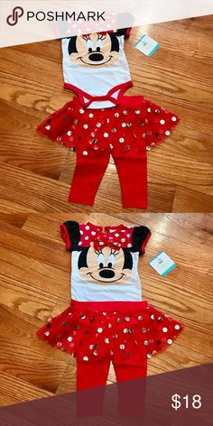 NEW Minnie Mouse Red Glitter Skegging Set Supercute Minnie Mouse skegging set for infant/toddler girl. Includes bodysuit with bow and red skeggings (mesh tulle sparkly polka dot skirt with attached leggings). Cotton/polyester/spandex; machine wash and line dry. New with tags. Disney Baby Matching Sets