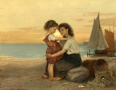 The Fisherman's Children - Sisters On The Beach by Anton Dieffenbach (1831-1914)