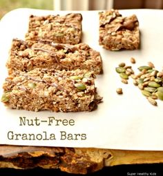 Delicious and Chewy Homemade Granola Bars for Nut-Free Kids. Chewy granola bars, full of nutrition and nut-free! Nut Free Snacks, Healthy Snacks, Healthy Drinks, Healthy Baking, Real Food Recipes, Snack Recipes, Free Recipes, Homemade Granola Bars, Nut Free Granola Bar Recipe