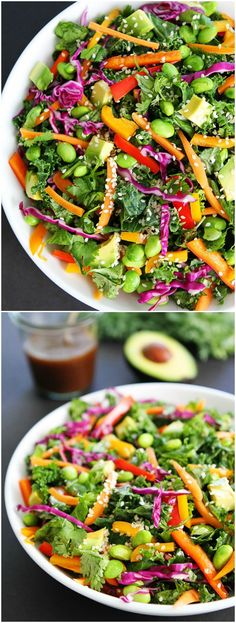 Asian Kale Salad Recipe on twopeasandtheirpo… This healthy salad is always a favorite! More Asian Kale Salad Recipe on twopeasandtheirpo… This healthy salad is always a favorite! Asian Kale Salad Recipe, Kale Salad Recipes, Vegetarian Recipes, Cooking Recipes, Healthy Recipes, Asain Salad, Healthy Salads, Healthy Eating, Quinoa