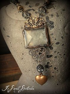 I like this ** In Small Spectacles Soldered Glass and Lace Filigree Necklace  Soldered Jewellery,...