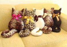 Aprenda a fazer almofada de gatinho - Vídeo - Molde - passo-a-passo