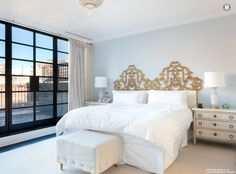 Pale Smoke ( Benjamin Moore A lovely and light blue-gray. Nate Berkus used this color in Katie Lee Joel's NYC townhouse. Decor, French Headboard, Interior, Home, Nate Berkus Design, Bedroom Design, Bedroom Inspirations, Interior Design, Headboard