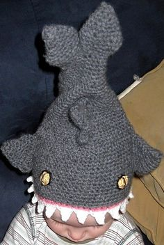 brilliant(!): wonder if this free crochet pattern could be scaled up to an adult size shark hat...?
