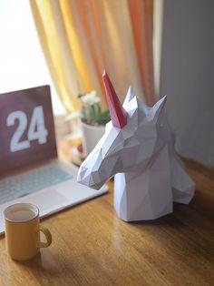 Unicorn Paper Head Home Decor DIY Papercraft Template, 3D Puzzle Digital…