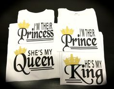 He's my KING She's my QUEEN I'm their Prince I'm their Princess shirts birthday photo shoot by GlitterGirlsShopLLC on Etsy