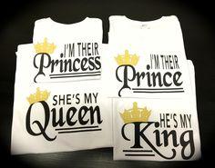 He's my KING She's my QUEEN I'm their Prince I'm their Princess shirts birthday photo shoot by GlitterGirlsShopLLC on Etsy