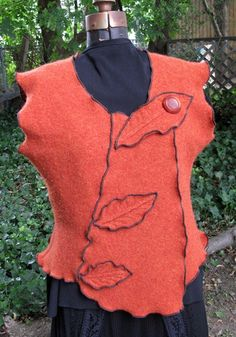 Felted vest from recycled sweater
