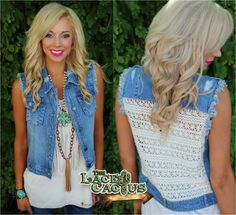 Denim and Crochet Back Vest - The Lace Cactus
