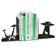 Alien Invasion Bookends ($20) ❤ liked on Polyvore featuring home, home decor, small item storage, red home decor and red bookshelf