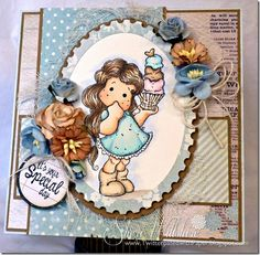 Photo Inspiration project using Magnolia stamps from Magnolia-licious by Sheri Willshire of TwitterpatedwithPaper/ http://magnoliastamps.us/store2/pre-order-3099-tilda-with-big-cup-of-ice-cream-1 /#crafts #cards