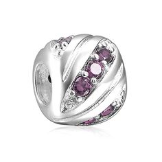 Today Super Deal June Birthstone Light Purple Stripe Charm 925 Sterling Silver