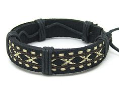 Leather and Rope Woven Bracelets Adjustable  35S by sevenvsxiao, $3.50
