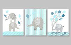 Quadros de elefantes segurando balões