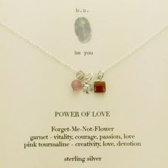 petite delicate Power Of Love charm necklace with a tiny Forget Me Not flower embraced with a single garnet and pink tourmaline gemstone signifying courage, love, creativity. Tourmaline Gemstone, Pink Tourmaline, Garnet Necklace, Arrow Necklace, Mother Jewelry, Jewelry Quotes, Engraved Jewelry, Love Charms, Love Symbols