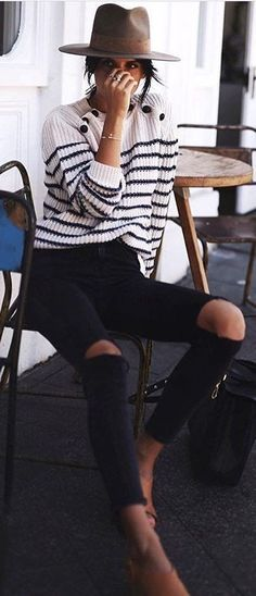 #fall #outfits Striped Sweater // Destroyed Jeans