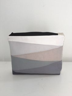 Grey geometric cosmetic bag cotton. Triangles. by chubbyABC