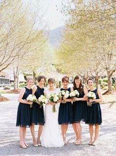 Navy bridesmaid dresses: http://www.stylemepretty.com/2014/10/29/romantic-north-carolina-mountain-wedding-at-hawkesdene-house/   Photography: Perry Vaile - http://www.perryvaile.com/